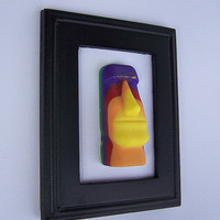 Rainbow Easter Island Head Statue Framed Sculpture/Gay Pride/Diversity/Art