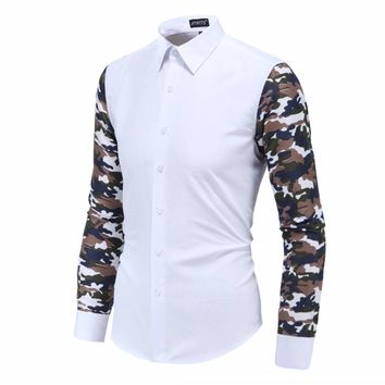 Mens Button Down Shirt with Camouflage Sleeves