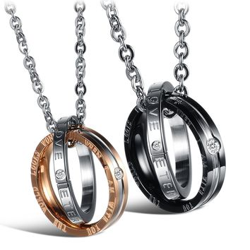 His & Hers Matching Set Titanium Stainless Steel Couples Pendant Necklace