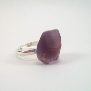 Purple Sea Glass Chunk Sterling Silver Plated Statement Ring