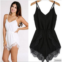 Feelingirl Lace Jumpsuit White Casual Strap Playsuit for Women V-neck Sleeveless Beach Summer Fashion Hot Sell 2015 = 1696880260