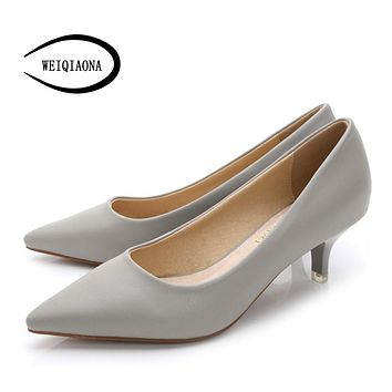 WEIQIAONA 34-43 Woman Shoes Genuine Leather inside Low Heels Women Pumps Stiletto Women's Work shoe Pointed Toe Wedding Shoes