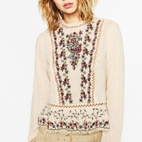 Women vintage floral embroidery loose shirt hollow out long sleeve retro blouse ladies fashion casual tops blusas LT1144