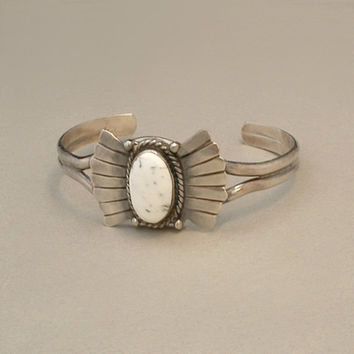 Old Pawn Vintage Native American Navajo WHITE BUFFALO Turquoise CUFF Bracelet Sterling Butterfly Motif c.1950's