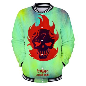 3D Baseball Jacket Skull Print Autumn Casual Jacket Fashion Clothes