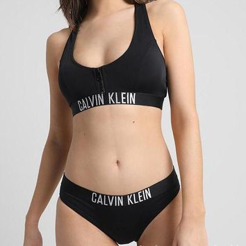 CK Calvin Klein Trending Women Stylish White Letter Chest Zipper Black Vest Type Two Piece Bikini Swimsuit I12833-1