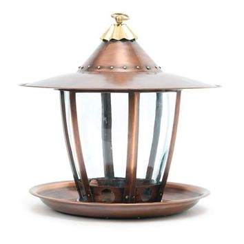 H. Potter Marketplace GAR-326 Copper with Brass Six Sided Bird Feeder