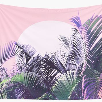 'Jungle Sunrise - Ultra Violet, Blue, Green and Pink' Wall Tapestry by Dominiquevari