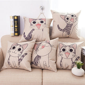 Cat priented Cotton Linen Sofa Cushion Embrace Pillow 45x45cm/17.7x17.7'' cartoon Throw pillow Home Decor Textile seat cushion