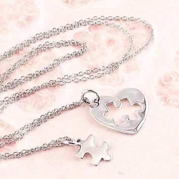 Heart with Puzzle Piece Missing Necklace in Sterling Silver