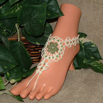 Barefoot Sandals, Sandles, Beachwear, Bracelet Rings, Anklet, Jewelry, Sexy, Yoga, Footless Sandal, Ballet, Flowered, Beach