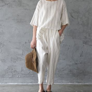 Yesno P100 Women Cropped Pants Trousers 100% Linen Casual Loose Elastic Waist Striped Fringed Cuff