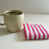 Washcloth, Hand Knit with Bright Pink and White Stripes, mix and match to make your own custom set