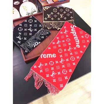 Louis Vuitton X Supreme Multicolor Fashion Women Winter Scarf Blanket Scarf H-YH-FTMP