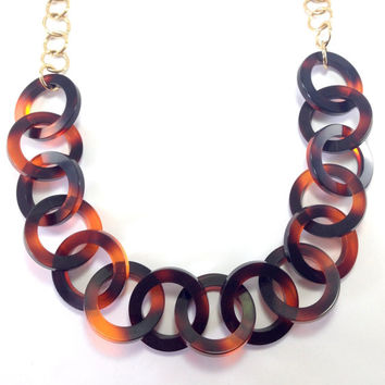Tortoise Shell Necklace - Circle Tortoise shell necklace, Resin Link Necklace, Long Acrylic necklace