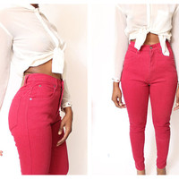 Vtg 80's Assorted Color Stretchy High Waist Fitted Super Skinny Leg Jeans