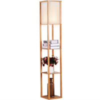 Modern 63 Inch Tall Asian Style Floor Lamp With Off-White Shade In Natural Finish