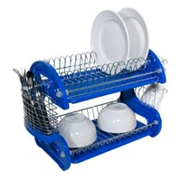 Home Basics Dish Drainer, 2-Tier, Plastic, Blue