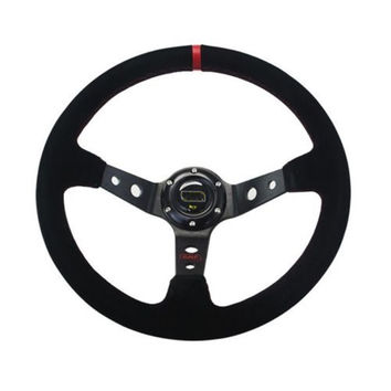 14 Inch Deep Dish Suede Leather Sport Racing Steering Wheel With Horn Button Aluminum Frame  Steering Wheel Cover For ford