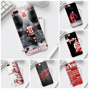 Qdowpz Cute Phone Case Nhl Detroit Red Wings For iPhone 4 4S 5 5C SE 6 6S 7 8 Plus X XS Max XR Galaxy A3 A5 J1 J3 J5 J7 2017