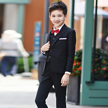 Kids wedding suits for Boys wedding clothes 4pcs set coat pant cardigan shirt toddler teen children formal wear costume outfits