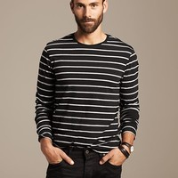 Banana Republic Micro Stripe Long Sleeve Crew Size XS - Br black