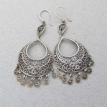 Big Beautiful Vintage Thai Sterling Silver Chandelier Earrings