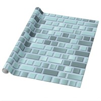 Blue bricks wrapping paper
