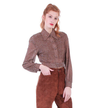 70s Vintage Sheer Glitter Mesh Top Long Sleeve Crop Top Collared Shirt Blouse Retro Brown Silver Clothing Women Size Small