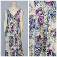 Vintage 1990's Button Front Purple Floral Maxi Dress Express Size 9/10 Tank Flowy Long Bohemian Dress  V-Neck White Flower Print