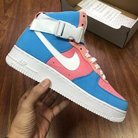 Nike Air Force 1 AF1 High Top Contrast Basketball shoes Pink Blue Powder