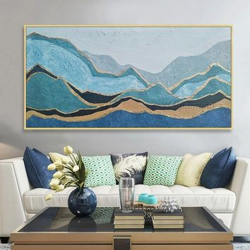 Original Gold leaf Mountain painting on canvas Acrylic Abstract nordic Large impasto textured Wall Art Picture Room Decor caudros abstractos