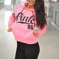 2017 Long Sleeve love pink 86 Letter print Casual Hooded Sweatshirt