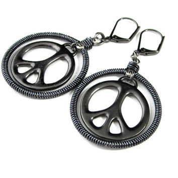 Peace Sign Earrings, Black Peace Sign Earrings, Gunmetal Peace Sign Earrings, Peace Sign Hoop Earrings, Lever Back Peace Sign Earrings