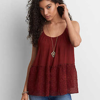 AEO Keyhole Embroidered Cami, Burgundy