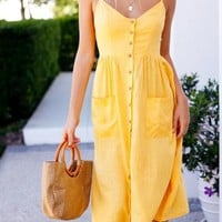 Yellow Pockets Single Breasted Spaghetti Strap Backless V-neck Homecoming Party Sweet Midi Dress