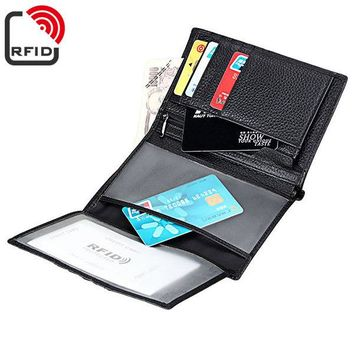 RFID Antimagetic Genuine Leather Trifold Wallet 15 Card Slots Casual Business Card Pack For Men