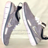 Brand New Release.....Women's Nike Free OG Superior in Metallic Silver and White with Swarovski crystal detail