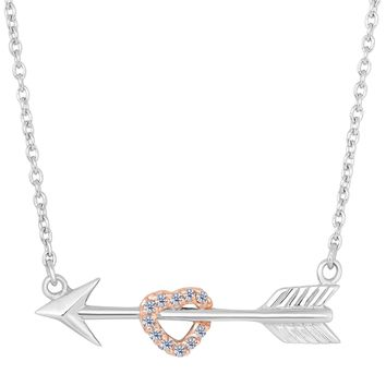 Sterling Silver Arrow With Rose Tone Finish CZ Heart  Necklace, 18""