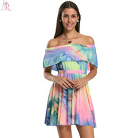 Short Sleeve Tie Dye Gradient Color Block Off the Shoulder Dress Casual Elastic Waist Ruffled Dresses 2016 Summer Women Clothing