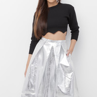 GET DOWN SILVER METALLIC VEGAN LEATHER SKIRT