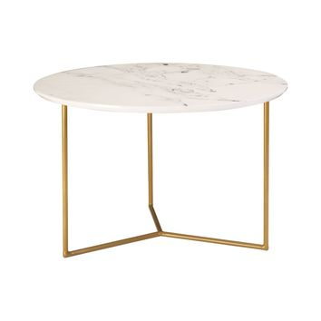 Glacier Round Accent Table Gold / White Printed Marble