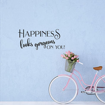Wall Decal Quote Happiness Looks Gorgeous On You by FabWallDecals- Happiness Motivational Quotes Decals Stickers Wall Art Home Decor Q308