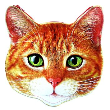 Kitty Cat Head Shaped Tabby Vinyl Animal Themed Clutch Bag in Orange | DOTOLY