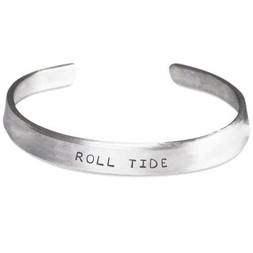 Roll Tide Silver Hand-Stamped Bracelet - One Size Fits All - Made in USA - Perfect Gift Idea for Mother!!