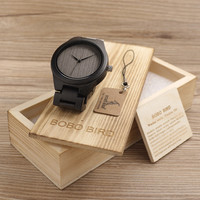 Mens Black Ebony Wooden Watch Wood Links Causal Wood Quartz Wrist Watch for Men in Gift Box