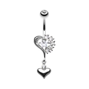 Romantic Double Heart with Star Belly Button Ring