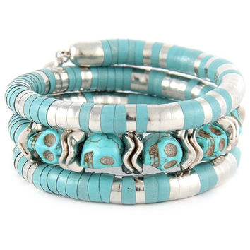 Western Cowgirl Rock Turquoise Skull Layered Wristwrap Stretch Bracelet