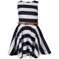 Club L Women's Striped Sleeveless Belted Skater Dress - Dark Navy/White