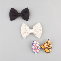 Full Tilt 3 Piece Solid/Tribal/Crochet Bow Hair Clips Black Combo One Size For Women 24286814901